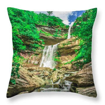 Throw Pillow featuring the photograph Falling Waters by Paula Porterfield-Izzo