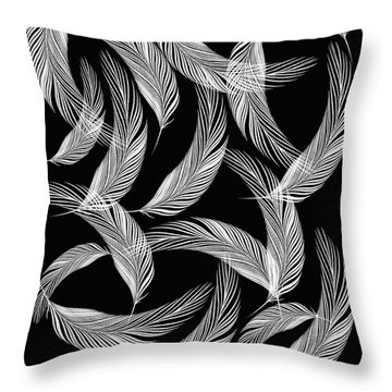 Falling White Feathers Throw Pillow