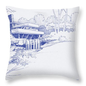 Fallingwater Blueprint Throw Pillow
