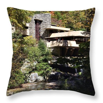 Fallingwater By Frank Lloyd Wright Throw Pillow by Brendan Reals
