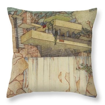 Fallingwater Pen And Ink Throw Pillow