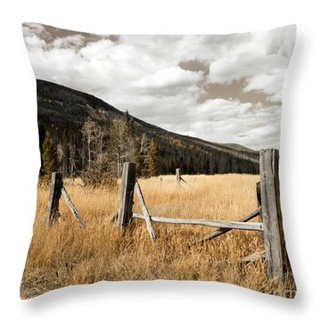 Throw Pillow featuring the photograph Fallowfield Weathered Fence Rocky Mountain National Park Dramatic Sky by John Stephens