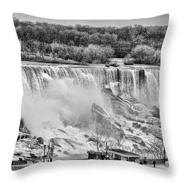 Throw Pillow featuring the photograph Falls Black And White by Traci Cottingham