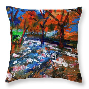 Fall Colors And First Snow Throw Pillow