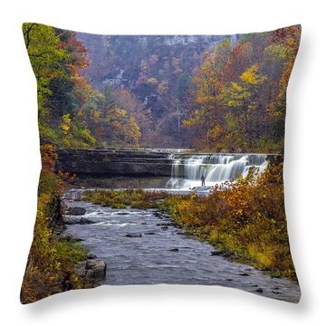 Falls Fishing Throw Pillow