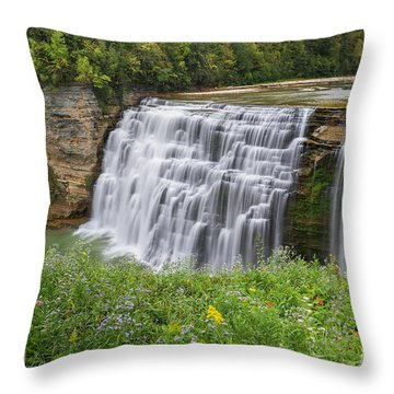 Autumn Flower Of Letchworth Middle Falls Throw Pillow