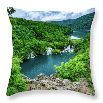 Falls From Above - Plitvice Lakes National Park, Croatia Throw Pillow