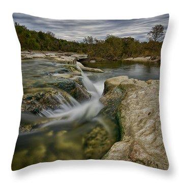 Texas Hill Country Falls Throw Pillow