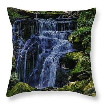 Falls In Vermont Mountain Stream  Throw Pillow