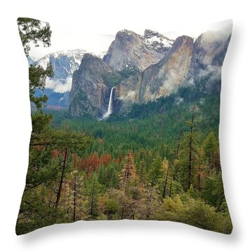 Throw Pillow featuring the photograph Falls In Yosemite B by Phyllis Spoor