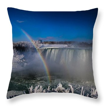 Falls Misty Rainbow  Throw Pillow