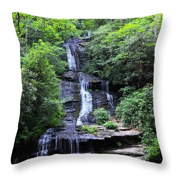 Falls Near Bryson City Throw Pillow
