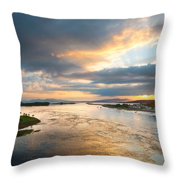 Falls Of Lora Throw Pillow by Ray Devlin