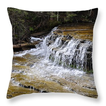 Falls Of The Au Train Throw Pillow