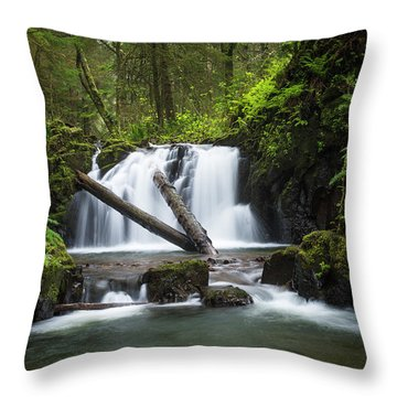 Falls On Canyon Creek Throw Pillow