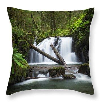 Falls On Canyon Creek Throw Pillow