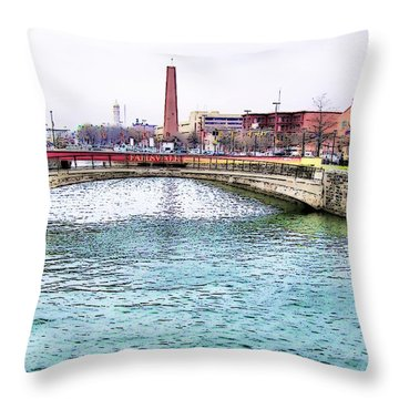 Throw Pillow featuring the photograph Fallswalk And Shot Tower by Brian Wallace