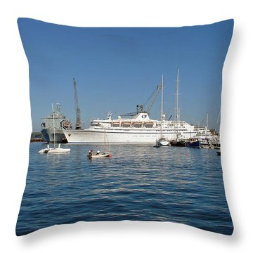 Falmouth Harbour Throw Pillow by Rod Johnson