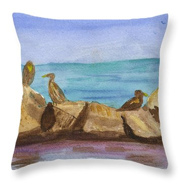 Throw Pillow featuring the painting Falmouth Mass by Donna Walsh