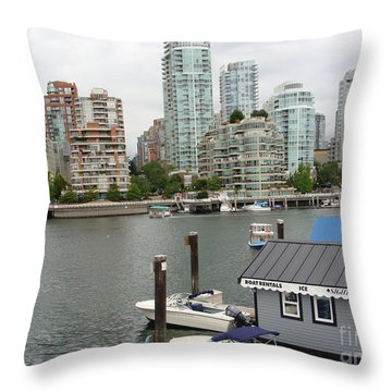 Throw Pillow featuring the painting False Creek Vancouver by Rod Jellison