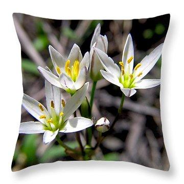 False Garlic Wild Flower Throw Pillow