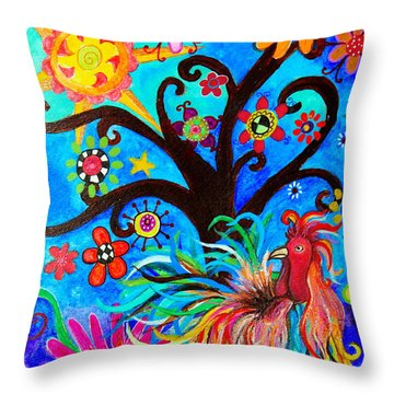 Throw Pillow featuring the painting Family And New Traditions by Pristine Cartera Turkus
