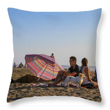 Family At Ocean Beach With Dogs Throw Pillow