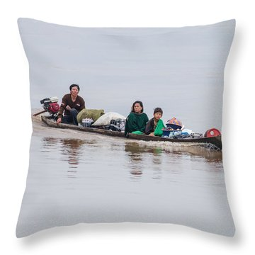 Family Boat On The Amazon Throw Pillow