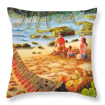 Family Day At Jobos Beach Throw Pillow by Milagros Palmieri