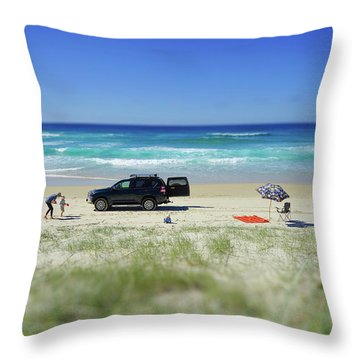 Family Day On Beach With 4wd Car  Throw Pillow