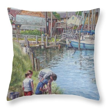 Family Fishing At Eling Tide Mill Hampshire Throw Pillow