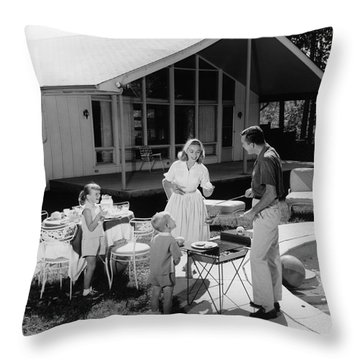 Family Grilling In Backyard, C.1950s Throw Pillow