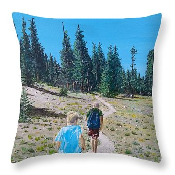 Throw Pillow featuring the painting Family Hike by Kevin Daly