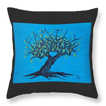 Throw Pillow featuring the drawing Family Love Tree by Aaron Bombalicki