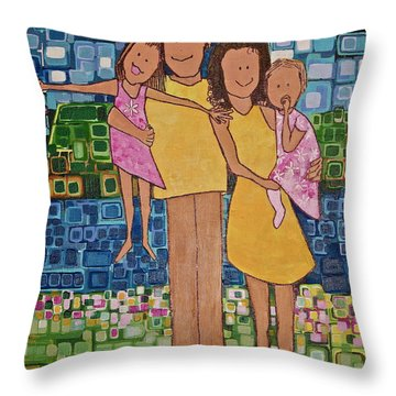Family Of 4 Throw Pillow