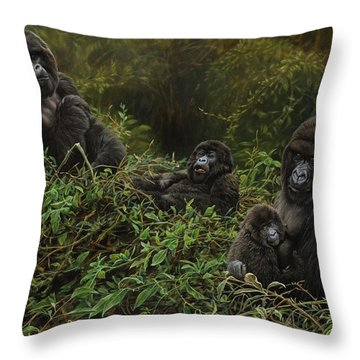 Family Of Gorillas Throw Pillow