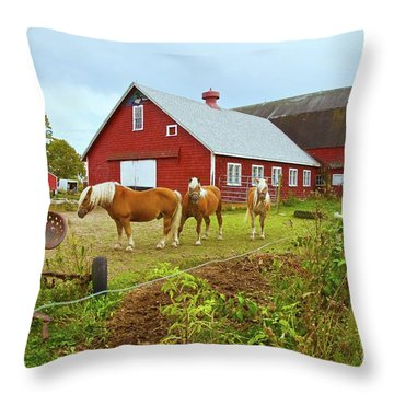 Family On The Farm Throw Pillow