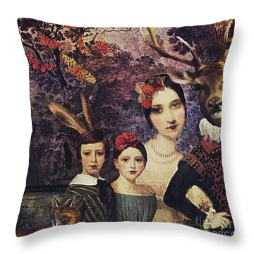 Throw Pillow featuring the digital art Family Portrait by Alexis Rotella