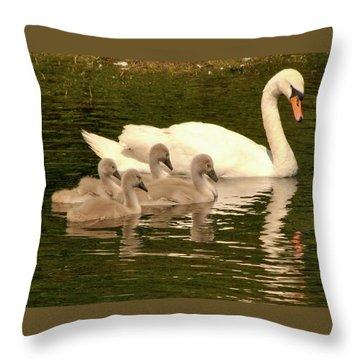 Family Swan  Throw Pillow
