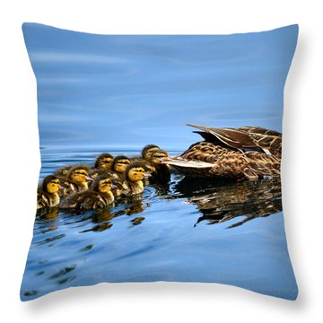 Family Swim Throw Pillow