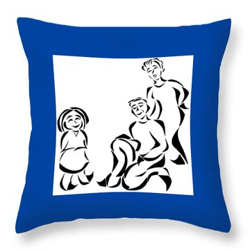 Family Time Throw Pillow by Delin Colon