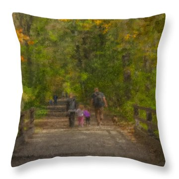 Family Walk At Borderland Throw Pillow
