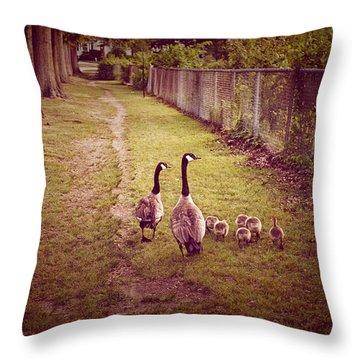 Family Walk Throw Pillow