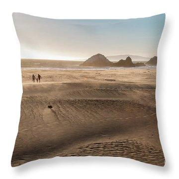 Family Walking On Sand Towards Ocean Throw Pillow