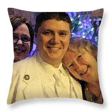 Family Throw Pillow by Walter Chamberlain