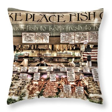 Famous Fish At Pike Place Market Throw Pillow