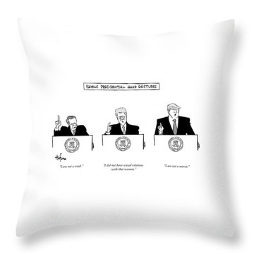 Famous Presidential Hand Gestures Throw Pillow