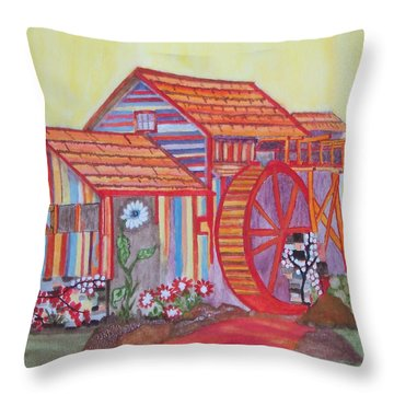 Throw Pillow featuring the painting Fanasty Waterwheel by Connie Valasco