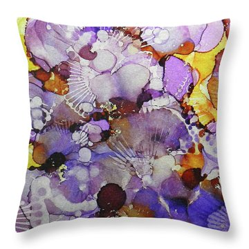 Throw Pillow featuring the painting Fanburst Ink #3 by Sarajane Helm