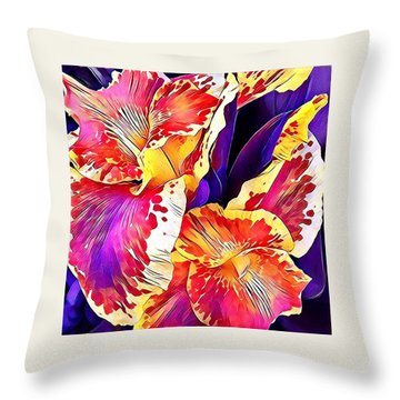 Throw Pillow featuring the photograph Fanciful Canna  by Heidi Smith